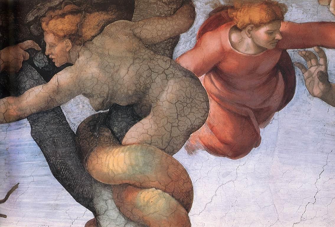 Микеланджело Буонарроти. Потолок Сикстинской капеллы. Бытие, падения и изгнание из рая. Фрагмент.