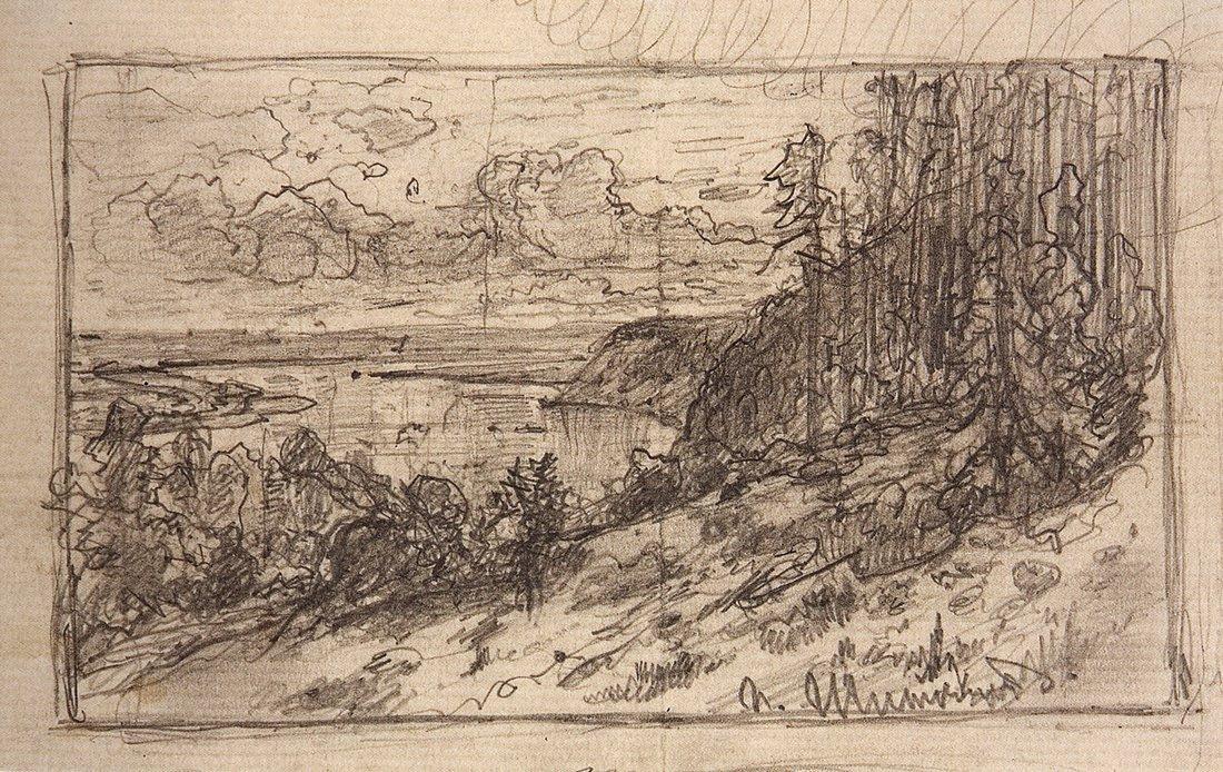 Ivan Shishkin. Kama. A sketch of the same picture