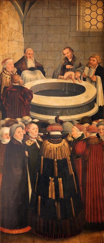 Лукас Кранах Младший 1515-1586. Алтарь. Тайная вечеря. 1530-е  Крещение.   левая панель