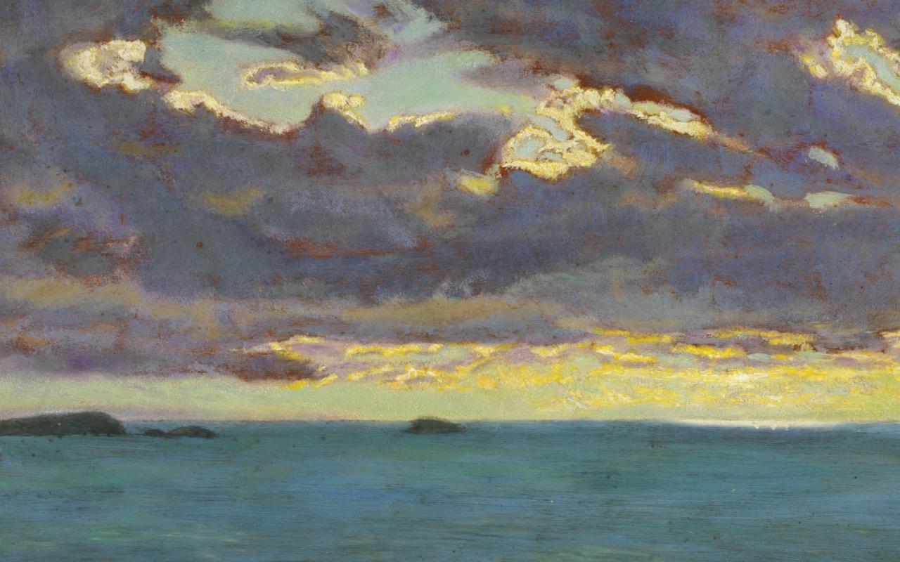 Arthur Hughes. Landscape. North Cornish Coast