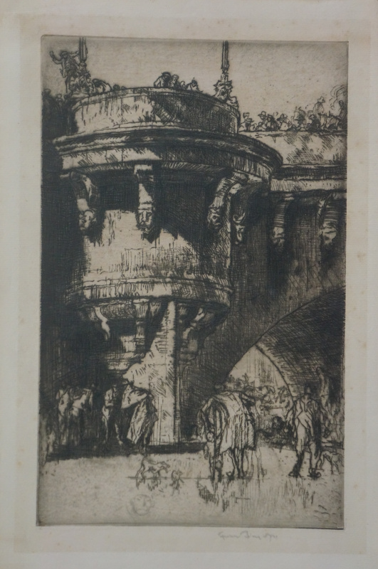 Frank William Brangwyn. Buttress Point Neif. Etching. Signature author.