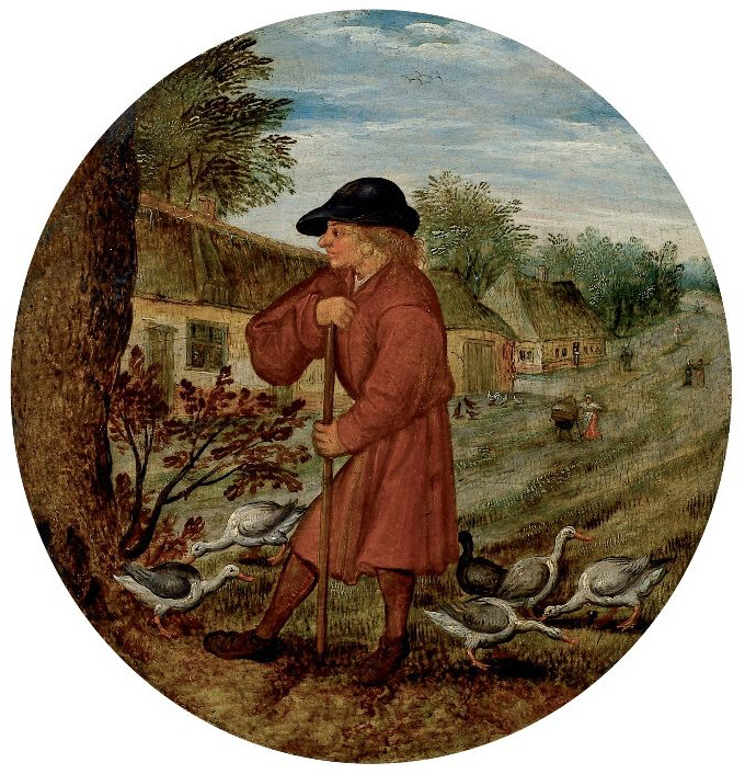 "Peter Brueghel the Younger. The farmer and the geese. Illustration of the proverb ""What would neither was the reason, but the geese go barefoot"""