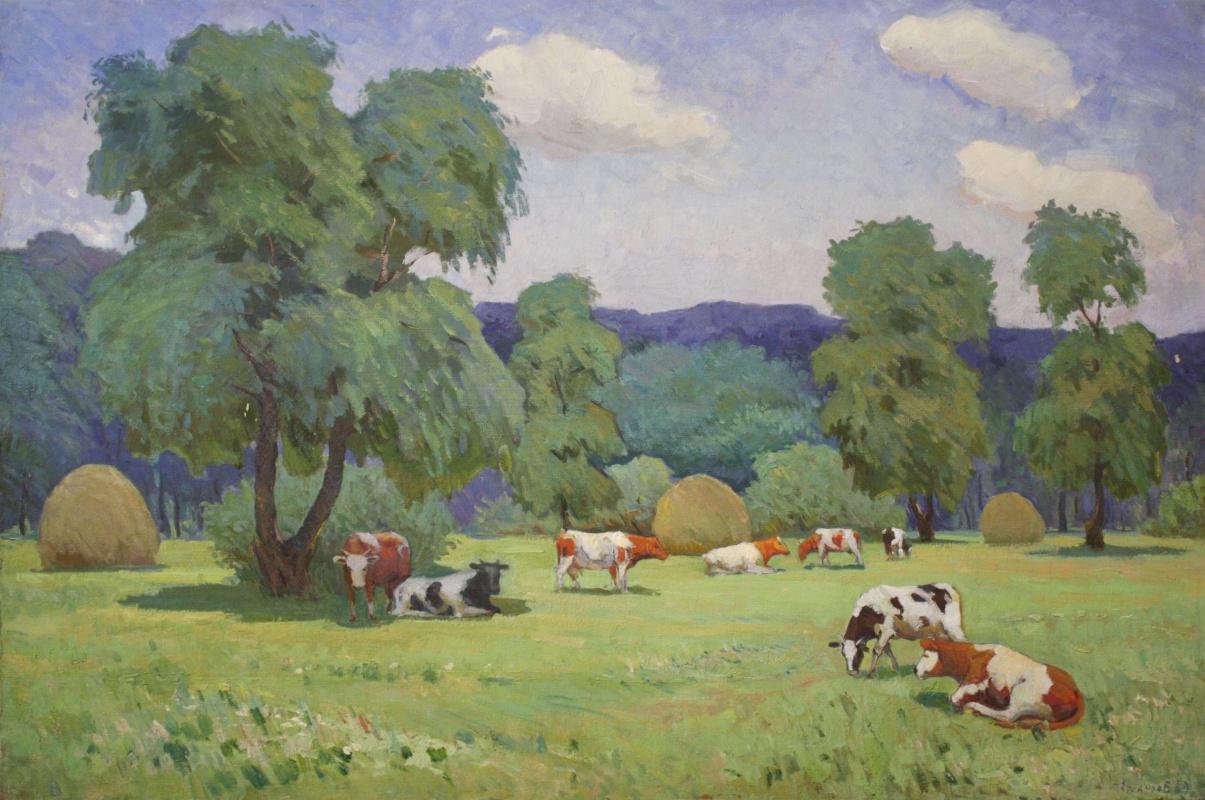 Vladimir Nikolaevich Atlantov. Afternoon tea (with cows)