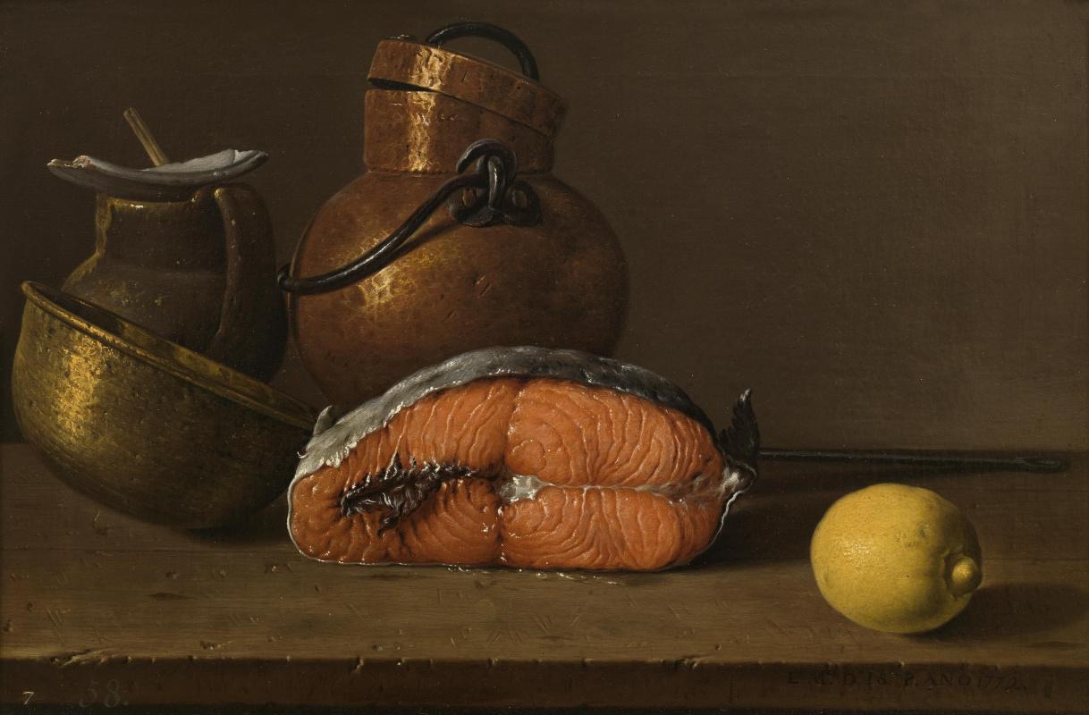 Luis Melendez. Still life. Salmon, lemon and three vessels