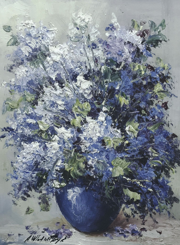 Andrzej Wlodarczyk. A bouquet of lilac in a blue vase