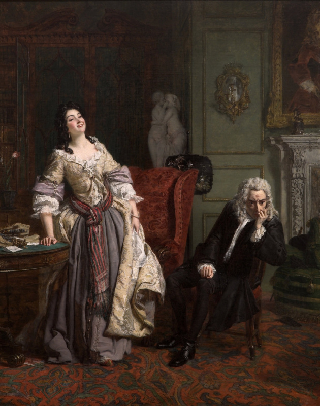 William Frayth Powell UK 1819-1909. Pope Makes Love To Lady Mary Wortley Montagu. 1852