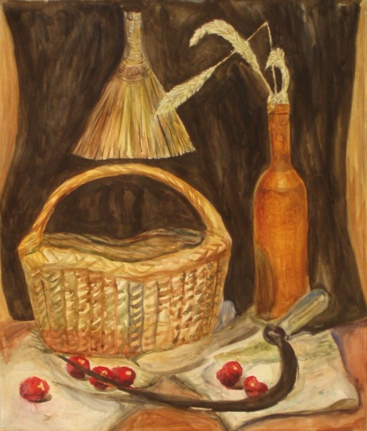 Larissa Lukaneva. Still life with a sickle and basket