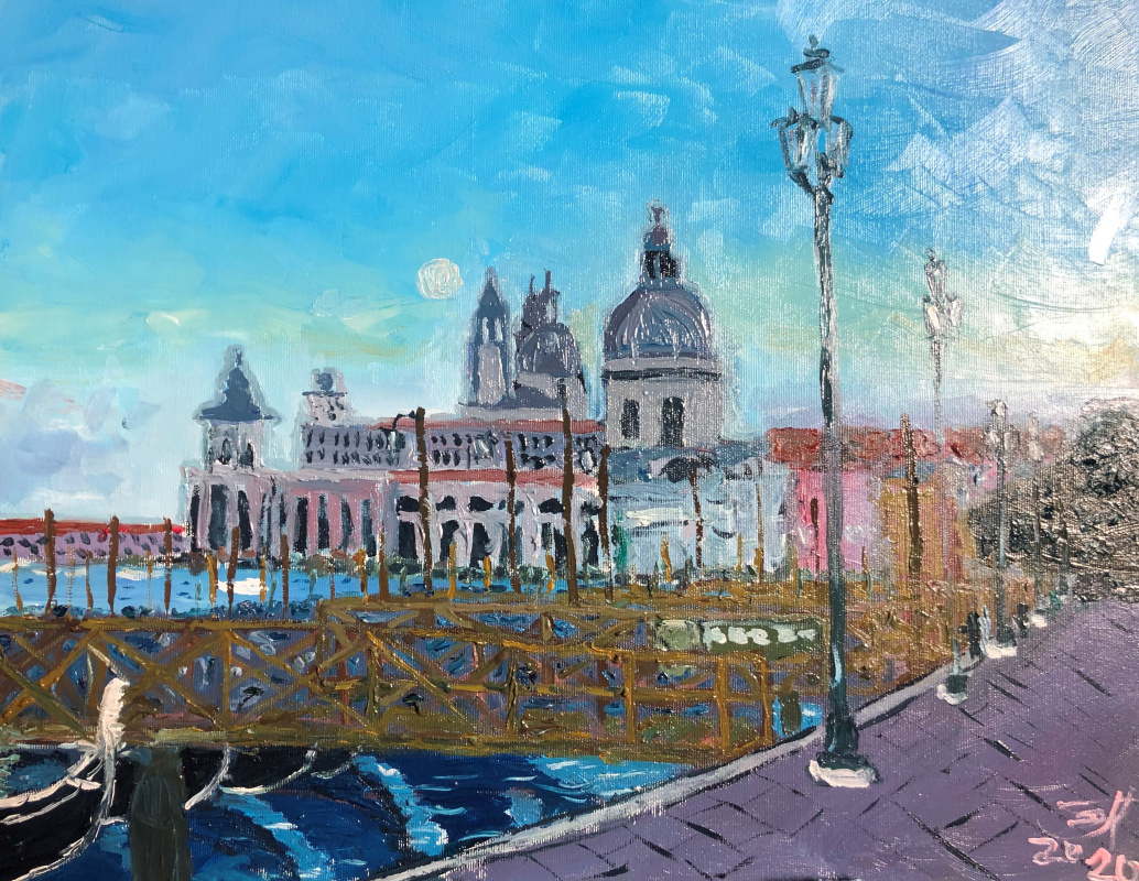 Sergey Vladimirovich Sebini. Dawn in Venice. View from the Piazza San Marco.