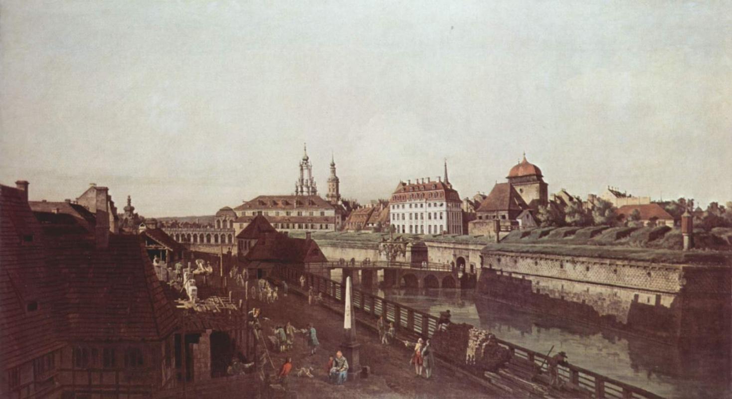 Джованни Антонио Каналь (Каналетто). Крепостные укрепления Дрездена, крепостной ров с мостом