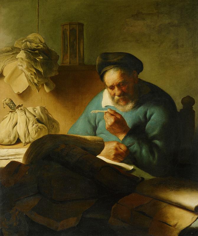 Ян Ливенс. Пожилой мужчина с пером
