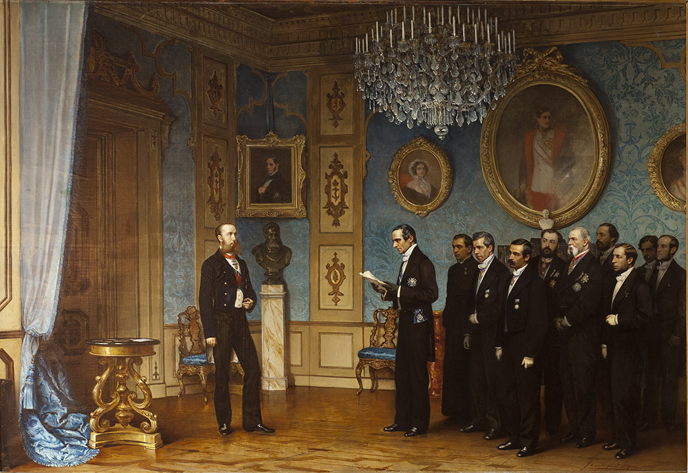 Cesare Dell'Aqua. Award of Maximilian Ferdinand of Austria to the Emperor of Mexico