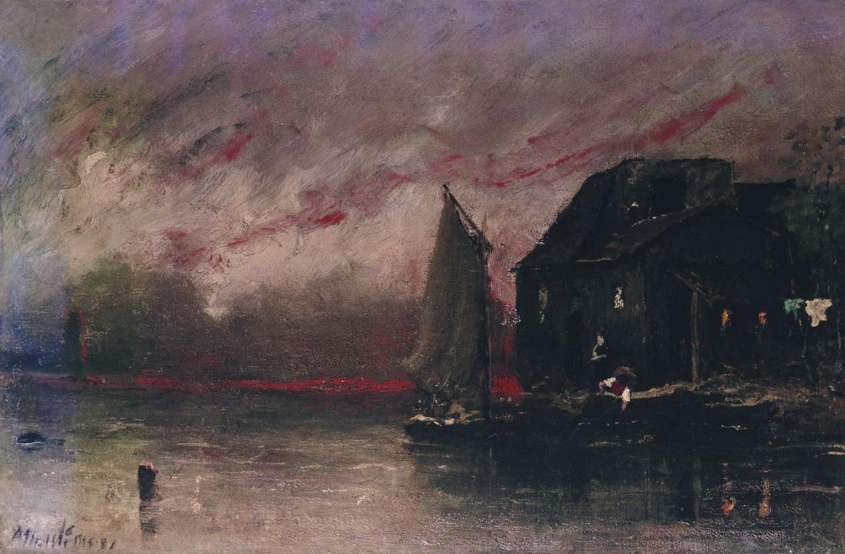Михай Либ Мункачи. Вечерний пейзаж с парусной лодкой