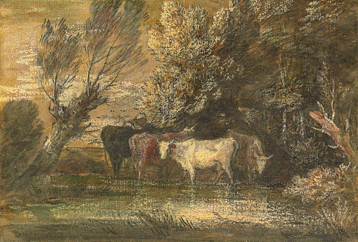 Thomas Gainsborough. Landscape with cows at a watering place