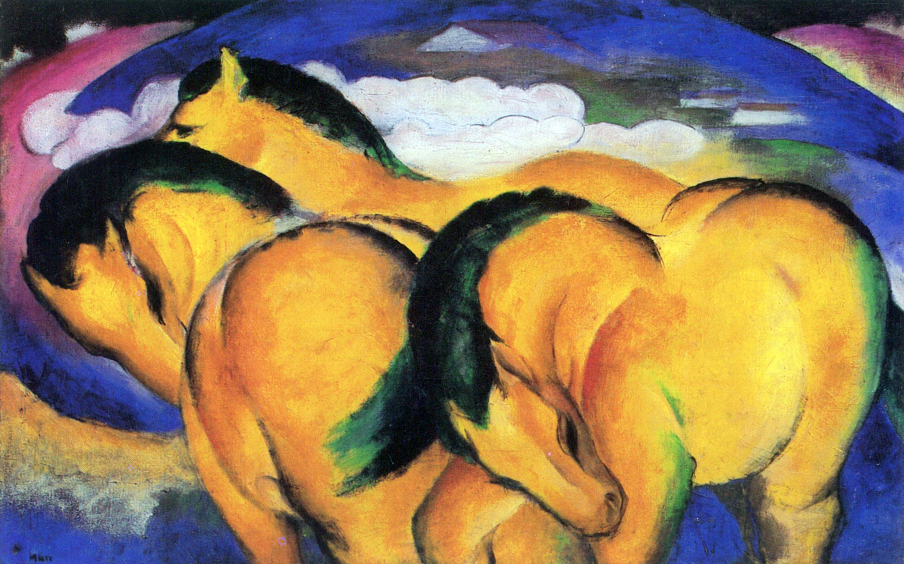Franz Marc. Stallions in the field