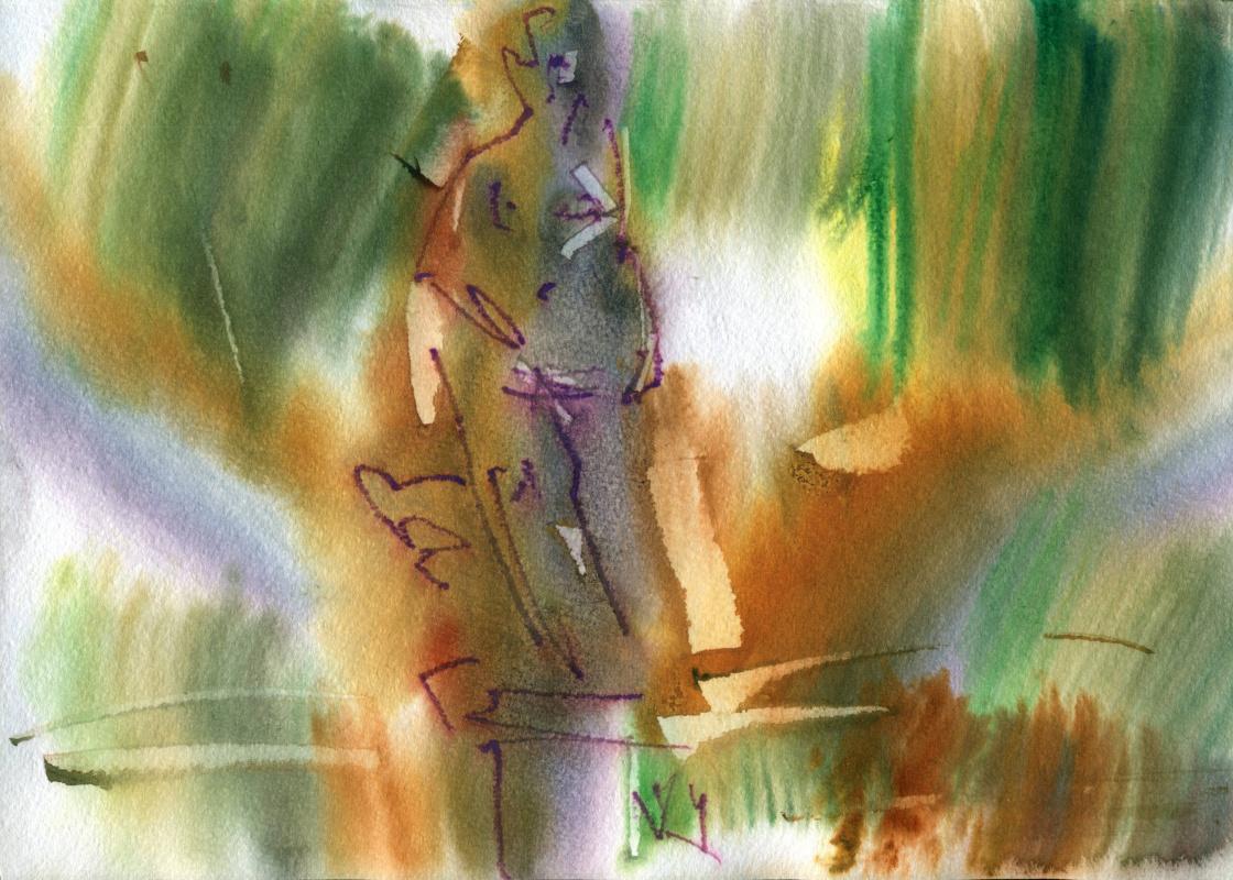 Вячеслав Крыжановский. In the summer garden. Study # 3