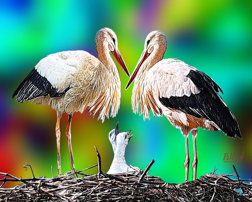 Vasiliy Mishchenko. Storks with two chicks