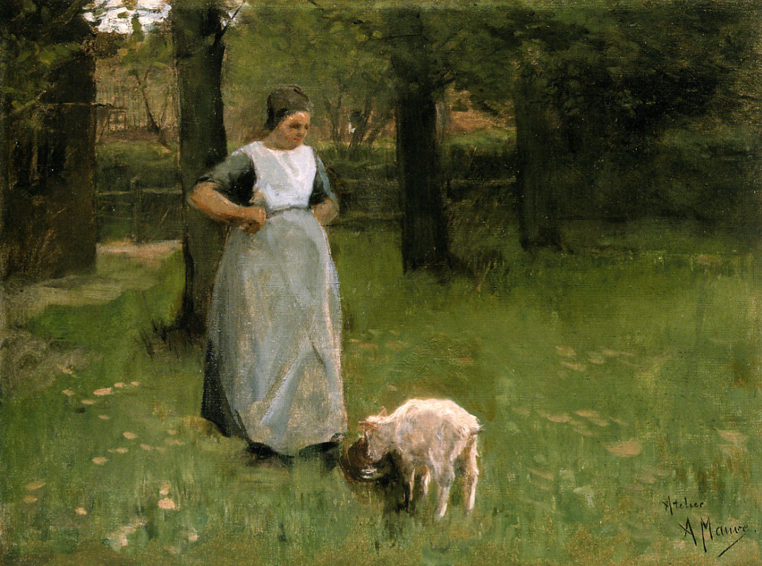 Anton Maouve. A woman from Laren with lamb