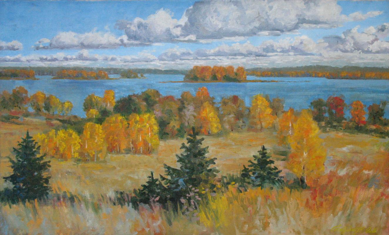 Alexander Nikolaevich Bezrodny. Autumn.Lake.Clouds