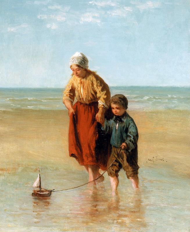 Йозеф Исраэлс. Парусная лодка в море