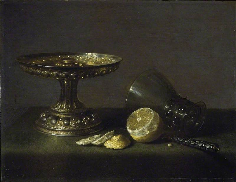 Pieter Claesz. Still life with a vase and lemon