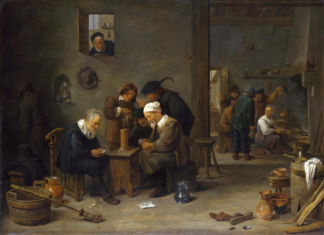 Давид Тенирс Младший. Двое мужчин играют в карты на кухне