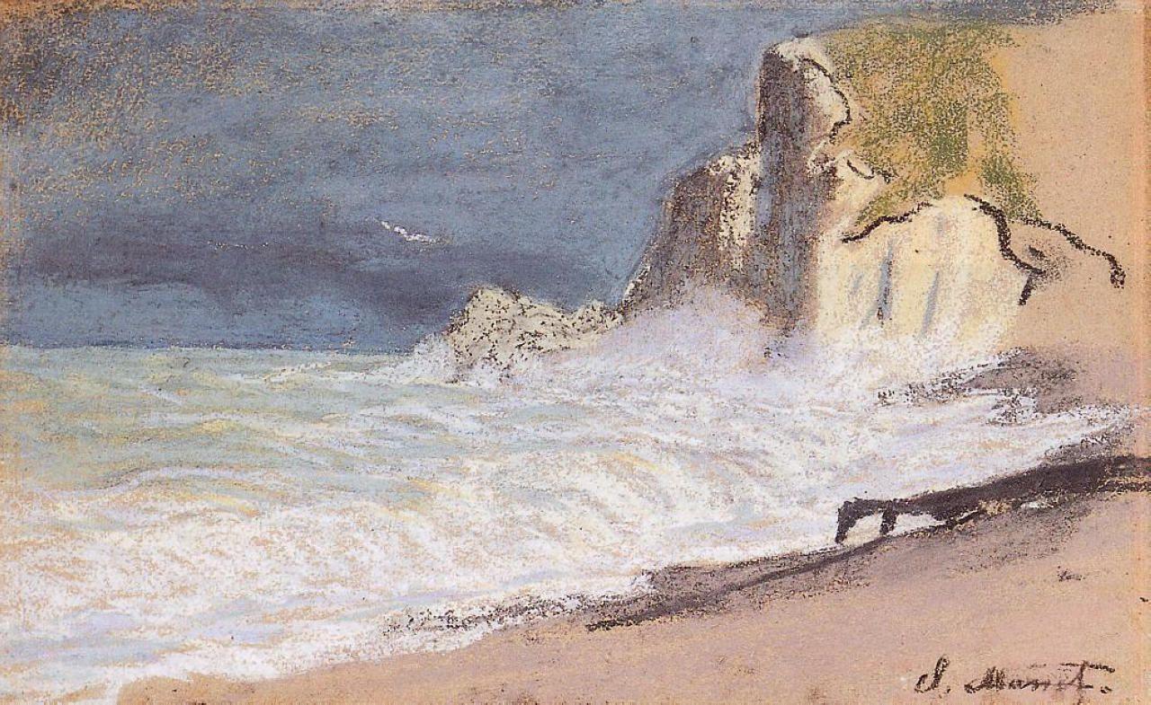 Claude Monet. Manneport, Etretat. Between the cliffs. Storm