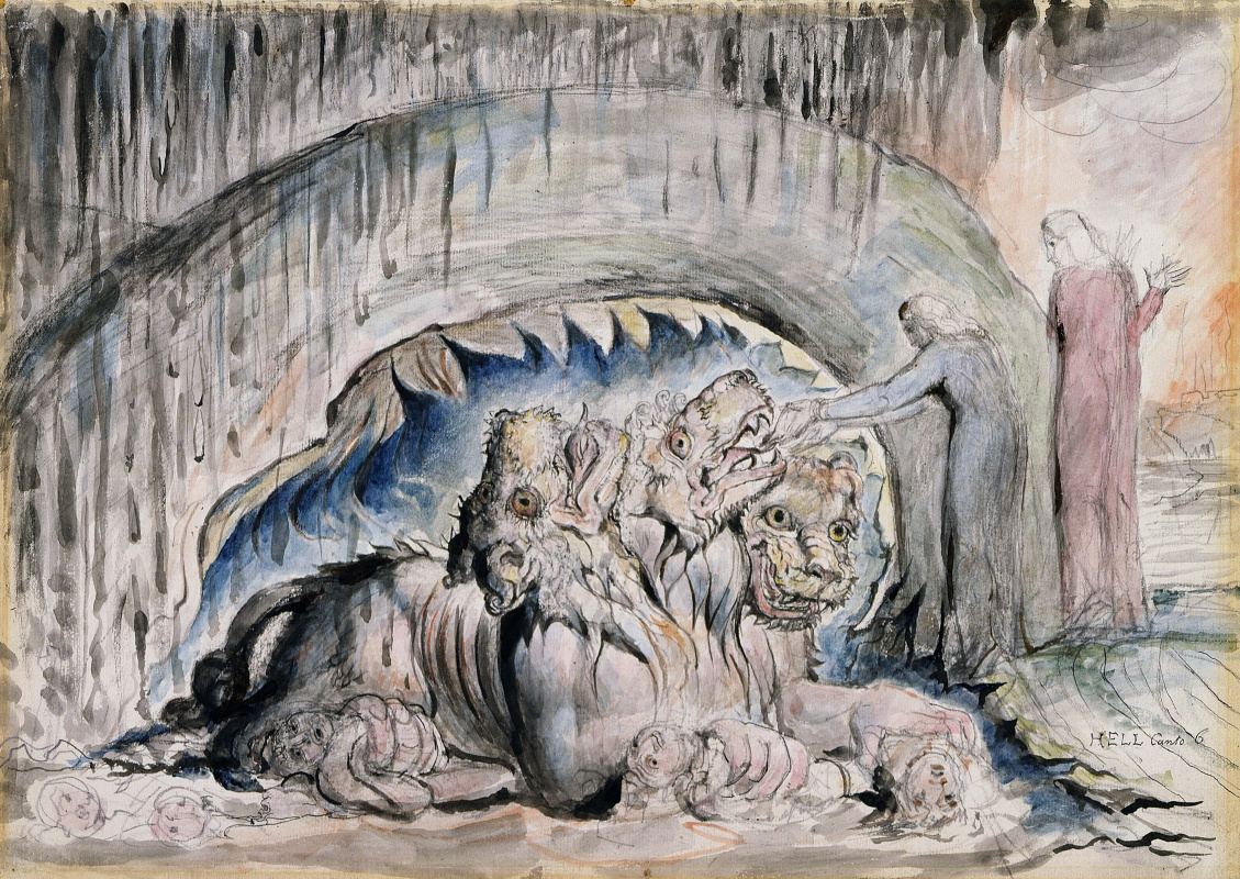 """Уильям Блейк. Данте и Вергилий с Цербером. Иллюстрации к """"Божественной комедии"""""""