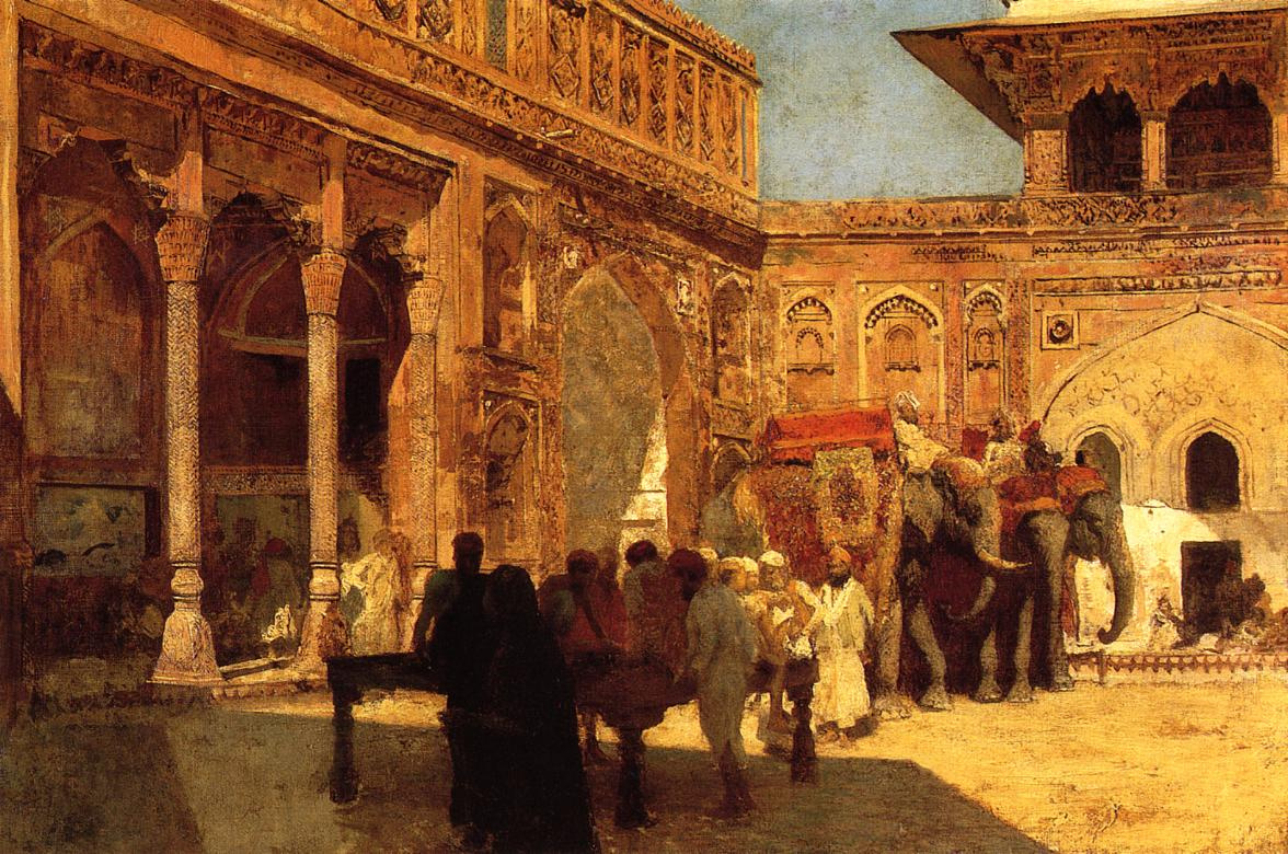 Edwin Lord Weeks. Elephants and people in the yard