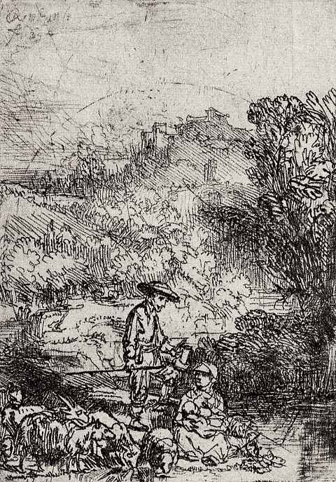 Рембрандт Ван Рейн. Пейзаж с семейством пастуха