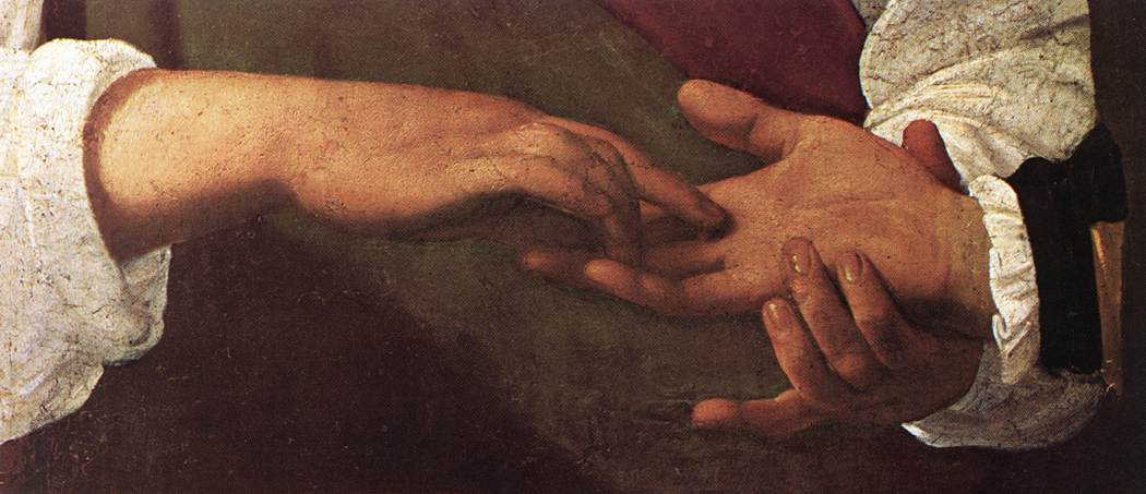 Michelangelo Merisi de Caravaggio. A fortune-teller. Fragment
