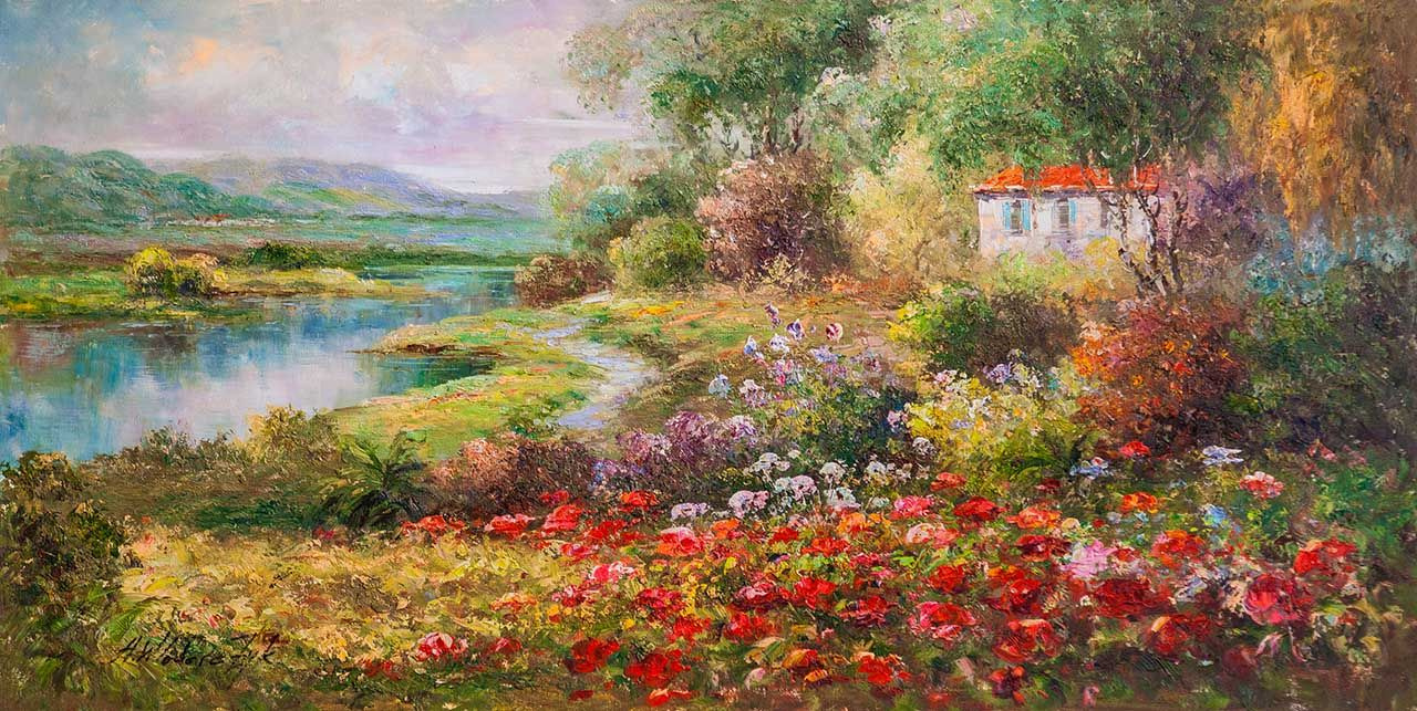 "Andrzej Vlodarczyk. Oil landscape ""In the land of the sun and flowers. AV version"""