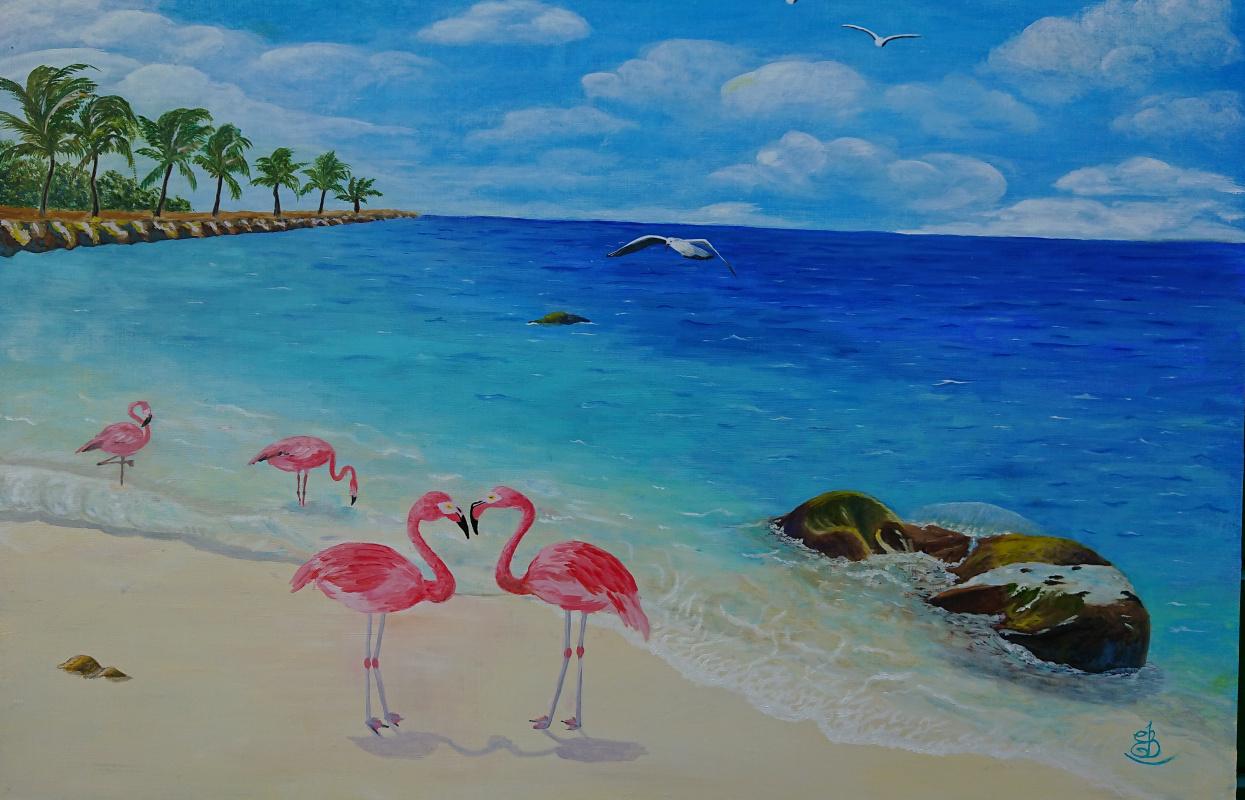 Evgeniya Sharygina. Flamingos at sea