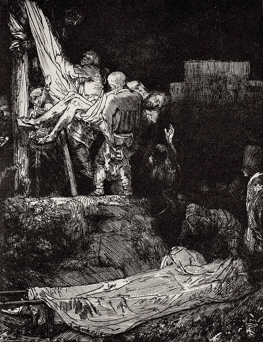Рембрандт Ван Рейн. Снятие с креста при свете факела