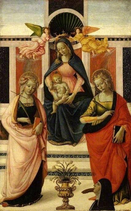 Давид Гирландайо. Мадонна с младенцем на троне между Святой Урсулой и Святой Екатериной