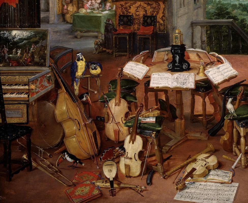 Jan Bruegel The Elder. Hearing. Fragment