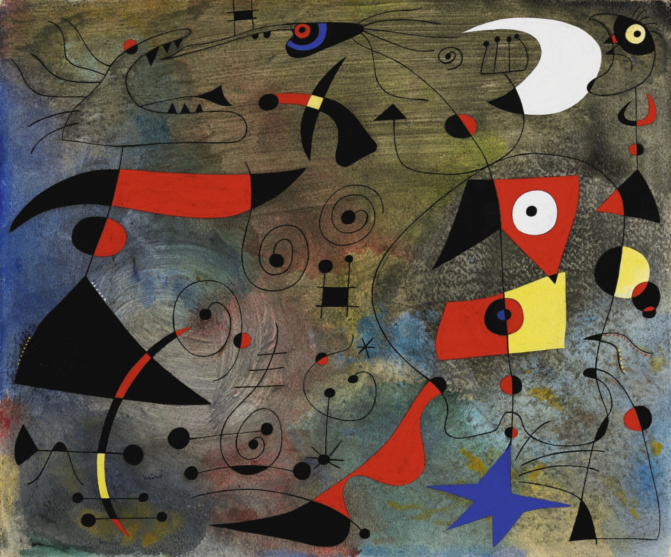 Joan (Joan) Miro. Constellations. Woman and birds