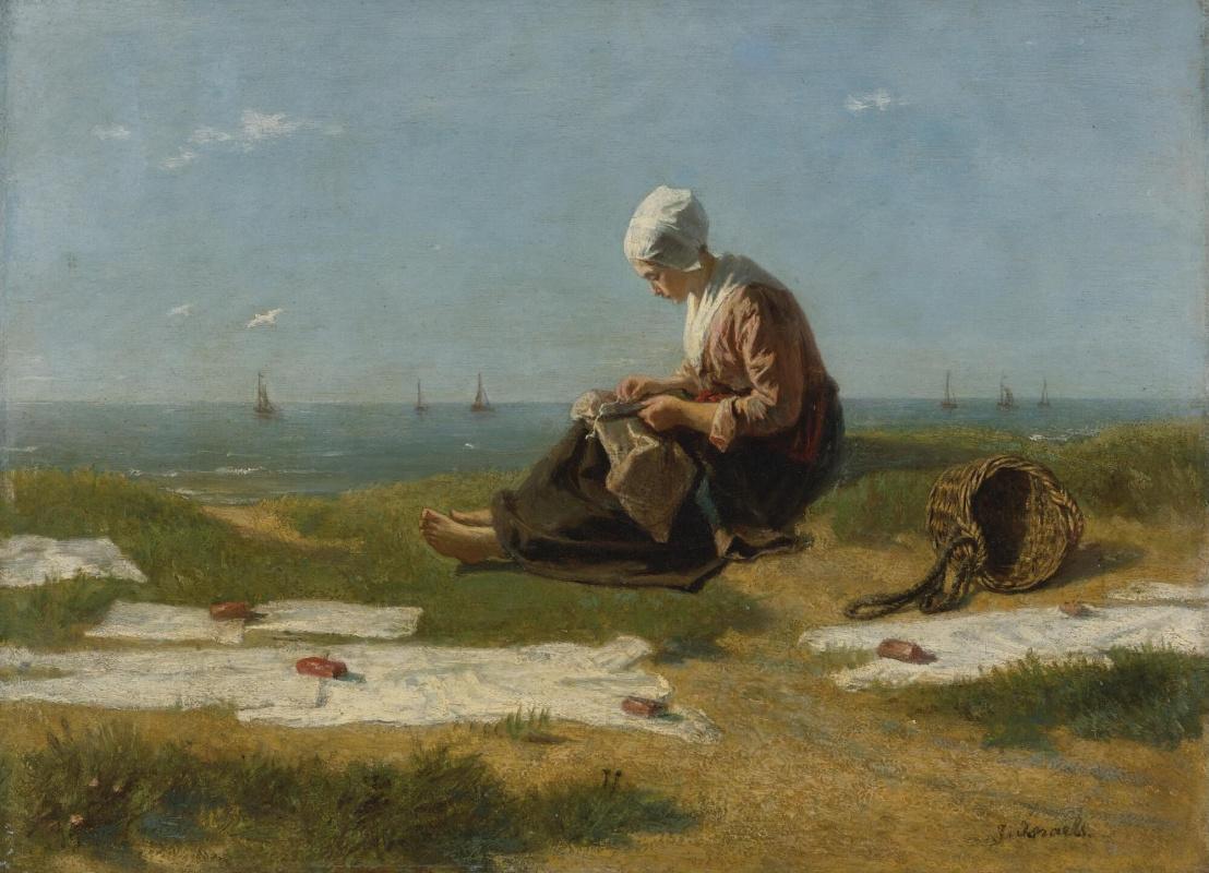 Joseph Israel. Girl on the shore in Katwijk