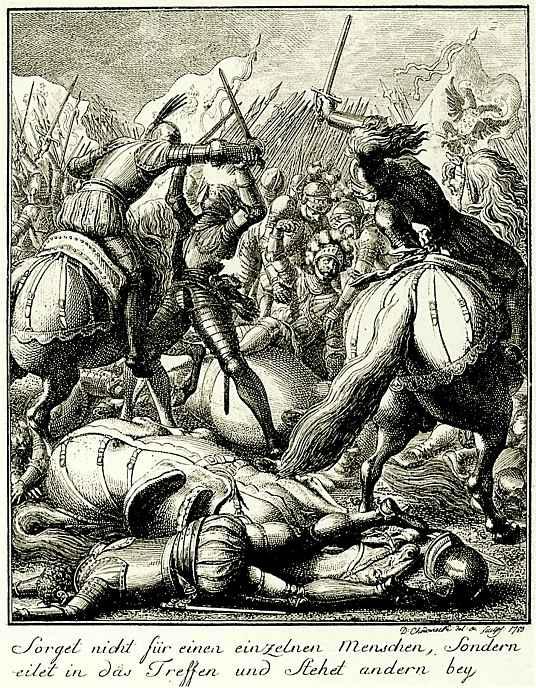Даниэль  Николай Ходовецкий. Император Рудольф фон Габсбург в битве