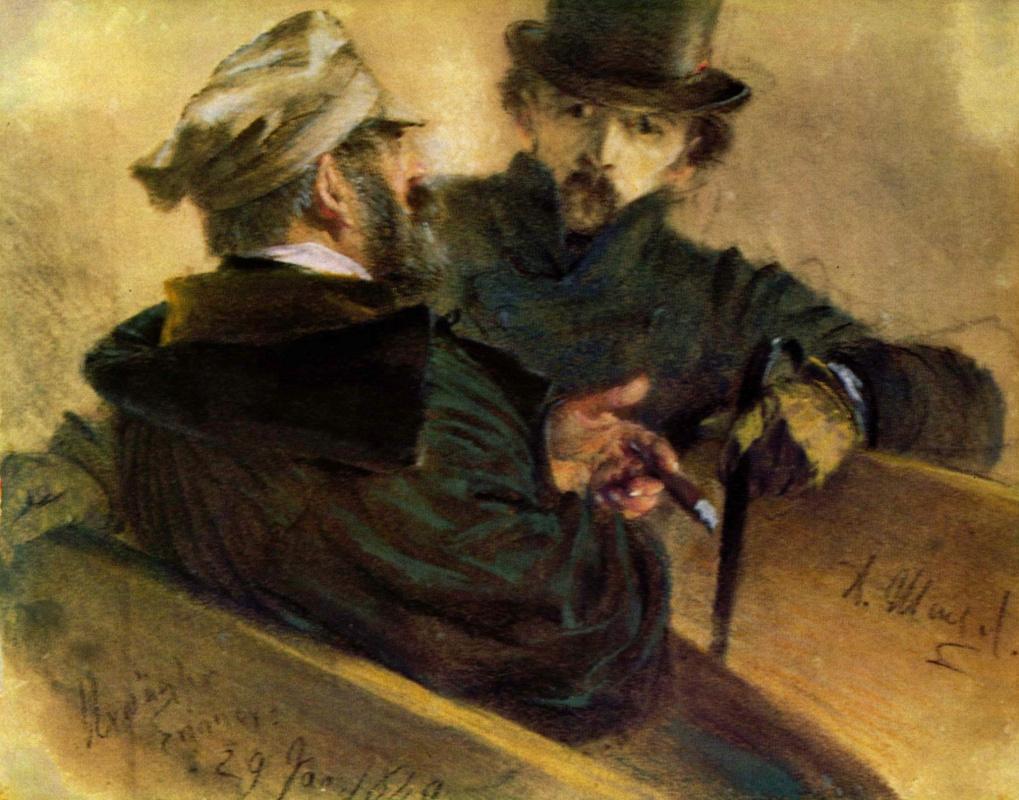Адольф фон Менцель. Беседа двух избирателей
