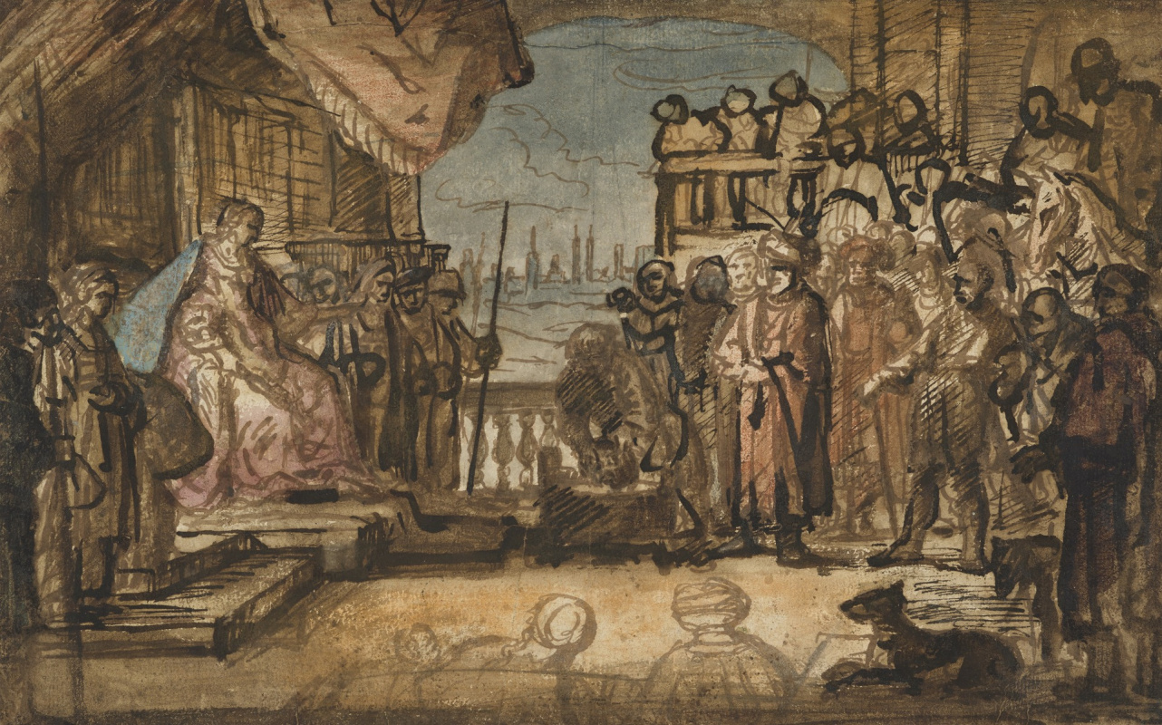 Rembrandt Harmenszoon van Rijn. Haman Pleading for his Life Before Esther