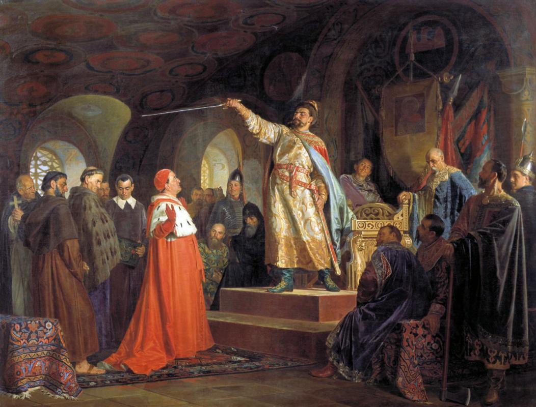 Nikolai Vasilyevich Nevrev. Roman Galitsky receives ambassadors of Pope Innocent III. 1875