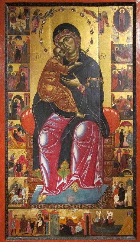 Коппо ди Марковальдо. Мадонна с младенцем на троне. Со сценами из жизни Марии в семнадцати клеймах