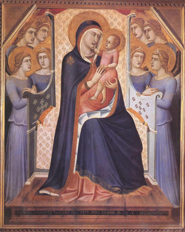 Pietro Lorenzetti. Madonna enthroned with angels