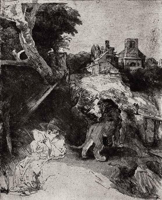 Рембрандт Ван Рейн. Святой Иероним в итальянском пейзаже