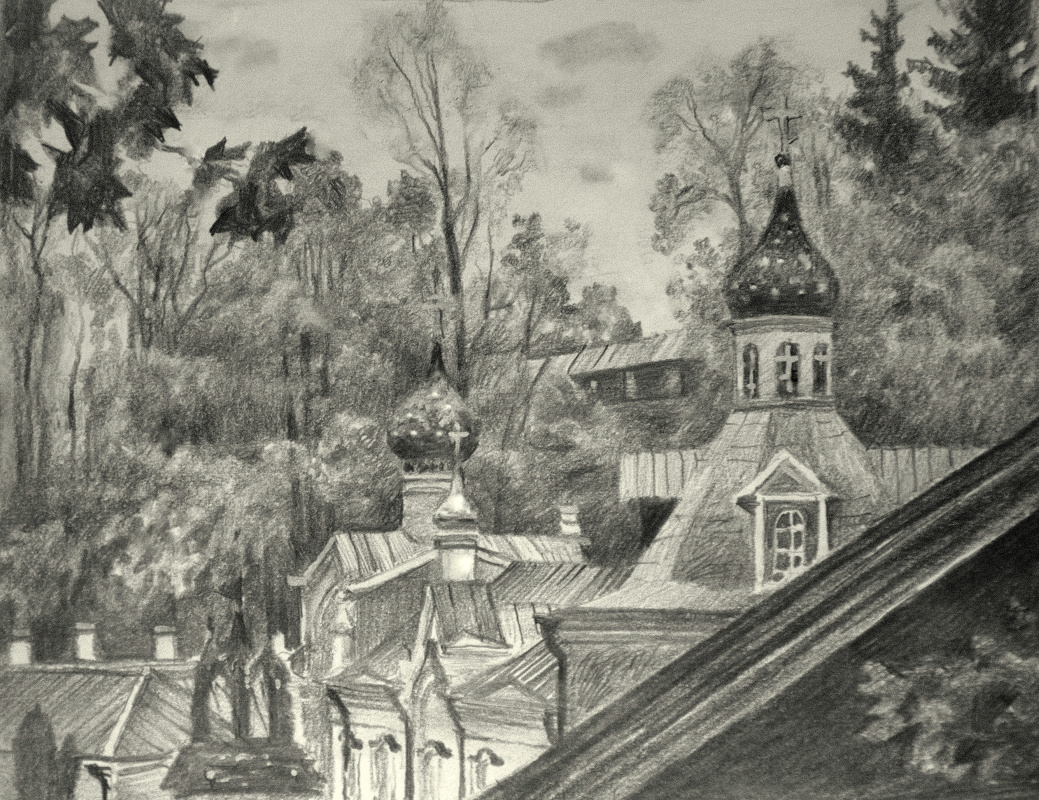 Oleg Borisovich Zakharov. Autumn in the Pskov-Pechora Monastery. Sketch.