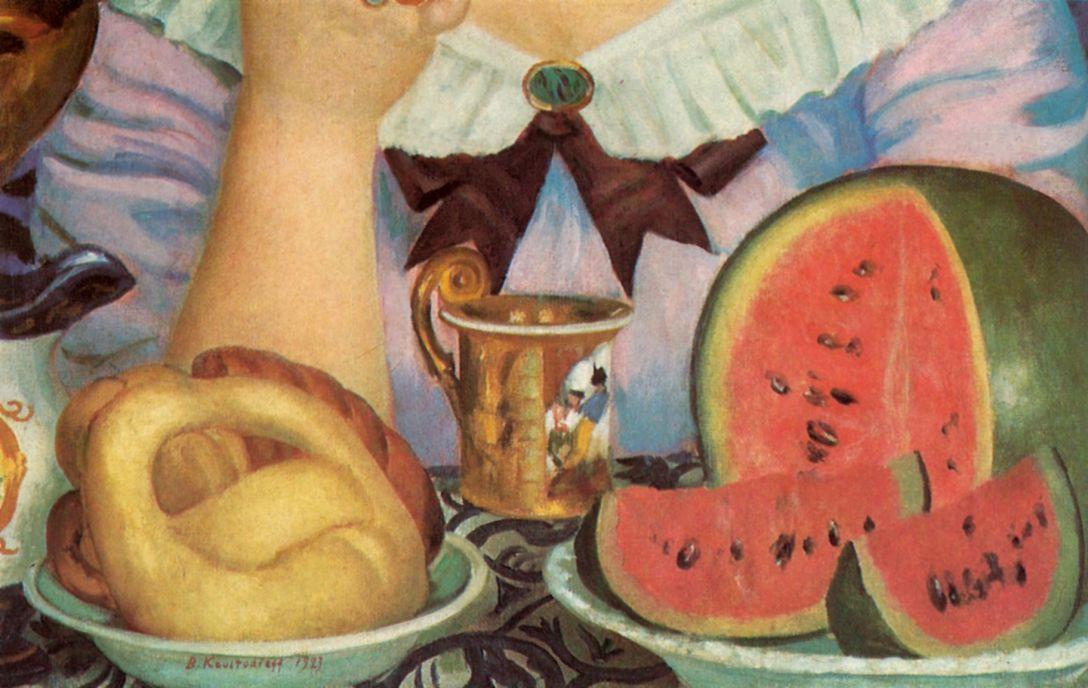 Борис Михайлович Кустодиев. Купчиха, пьющая чай. Фрагмент