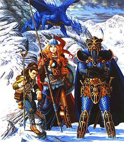 Boris Vallejo (Valeggio). Dragons of a winter night