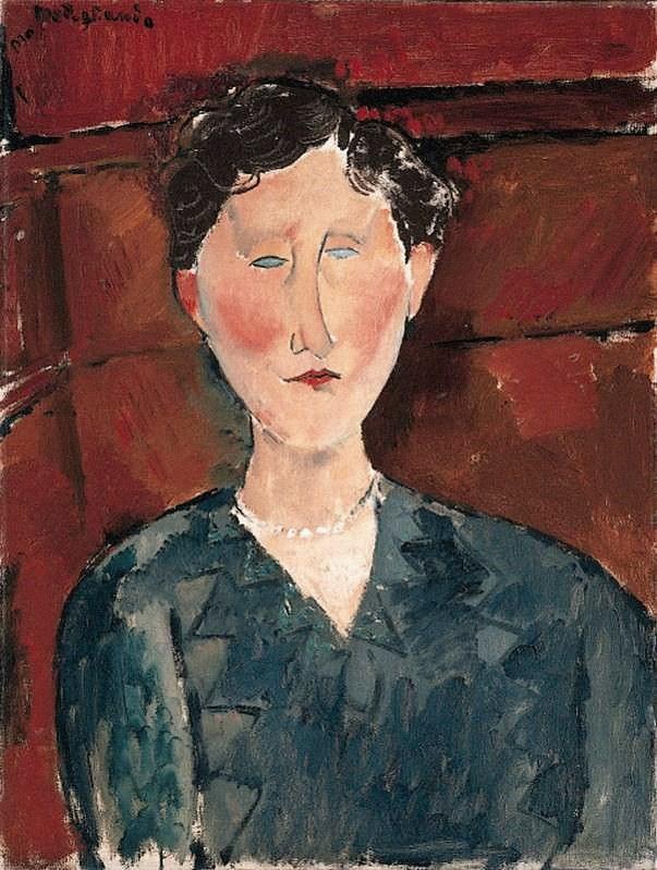 Amedeo Modigliani. Portrait of a woman in a blue blouse