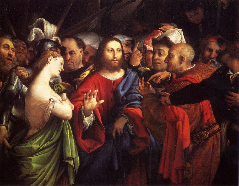 Лоренцо Лотто. Христос и прелюбодейка