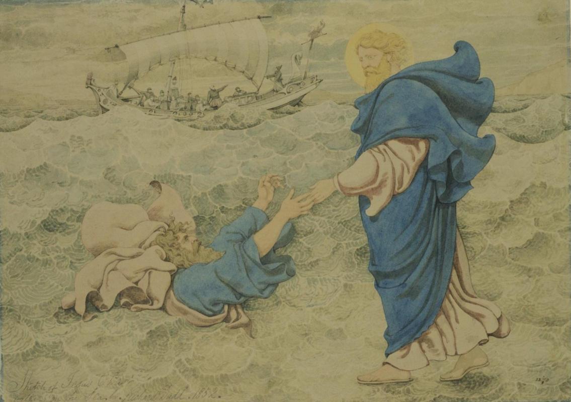 Ричард Дадд. Christ saves St. Peter